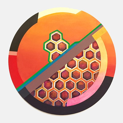 Bees, honey, honeycomb, painting,circle, geometric abstract, geometric, abstract painting, color, colorful, nature, art