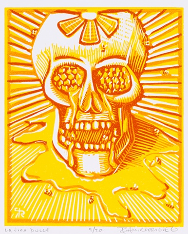 skull, bees, honeycomb, print, relief, reduction, linoleum, Ramiro Rodriguez