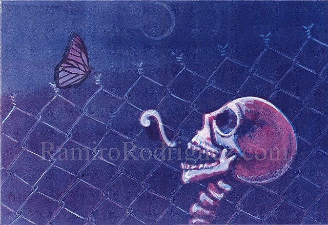 Skulls, fence, glyph, monarch butterfly, detention