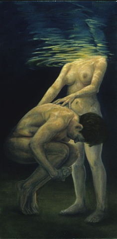 Nude male and female figures underwater. Male curved into a fetal position with woman's hands on back.