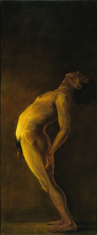 side view of a male nude bending backward