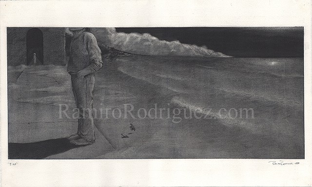 nocturnal figure on a beach scene