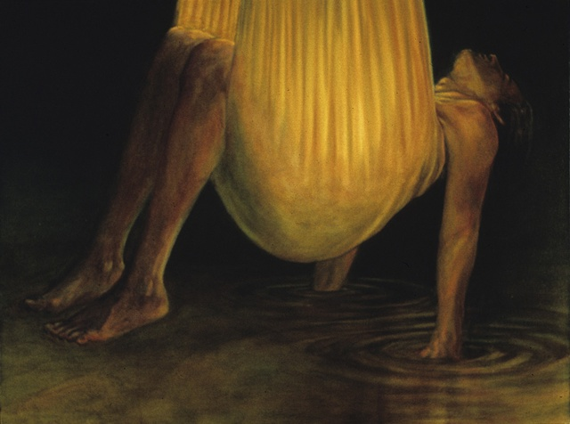 Figure suspended in cloth sling dangles above water