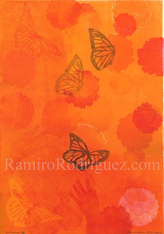 monarch butterflies, marigolds, immigration
