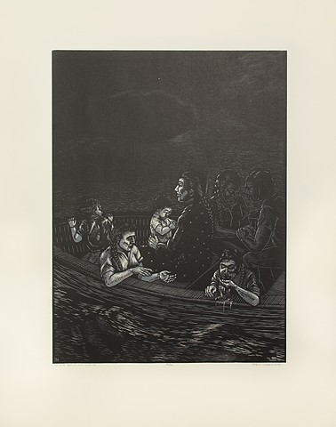 Nocturnal scene of a family in a boat.