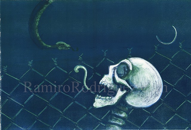 Skulls, fence, glyph, snake, detention