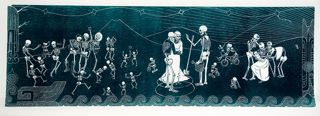 various skeletons enjoy a party, wedding, family and dancing