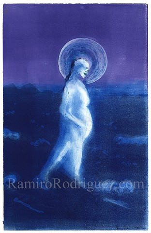 skeleton, moon, female, pregnant, immigrant, desert