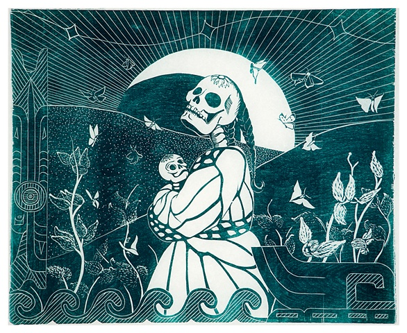 female skeleton in butterfly shawl holding baby skeleton in front of the moon