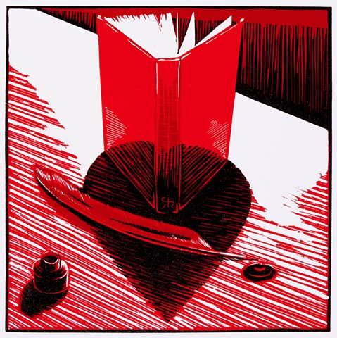 heart, shadow, book, ink, reduction relief, print, Ramiro Rodriguez