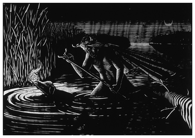 nude man with cloth tied to head walks through a marsh with a black dog with torch in mouth