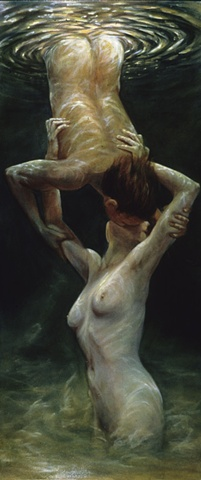 Two nude figures kissing under water - male suspended & female growing up.