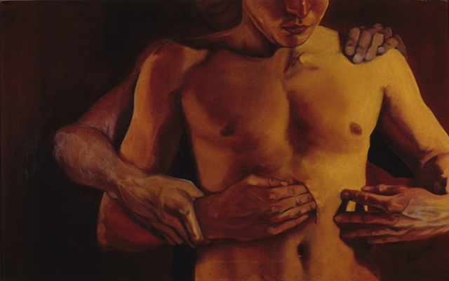 male torso, figure putting fingers in wound guided by hands of figure from behind