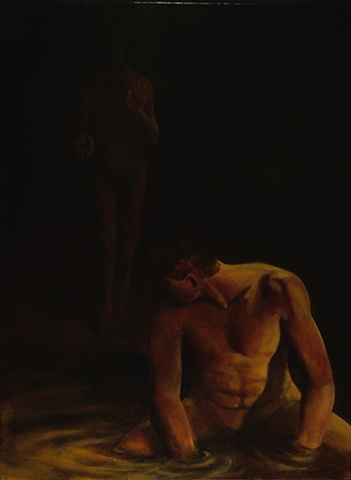 A kneeling nude figure with hands in water looks over his shoulder at a figure approaching out of the darkeness