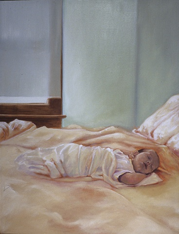 baby sleeping in a light filled room