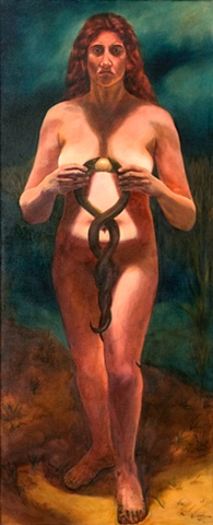nude woman holding two snakes by the neck as they try to eat an egg