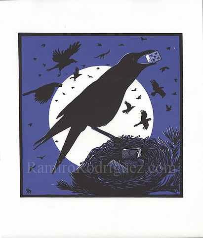 A murder of crows on a full moon night