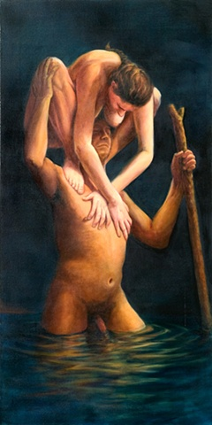 nude male figure with nude female figure on shoulders crossing water