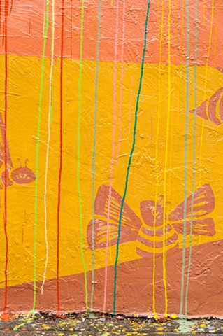 Abrams Claghorn Gallery, Ohlone Greenway, Mural, Bees, Painting, art, yellow, orange