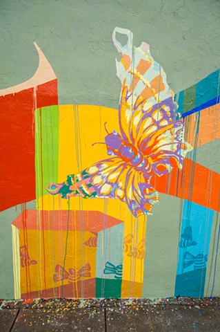Mural, Solano Avenue, Abrams Claghorn Gallery, butterflies, bees, painting, art