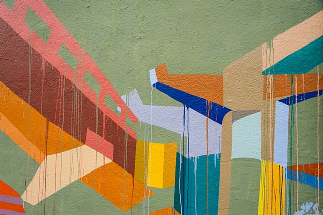 Mural, Solano Avenue, Abrams Claghorn Gallery, BART, color field painting, highway, communte