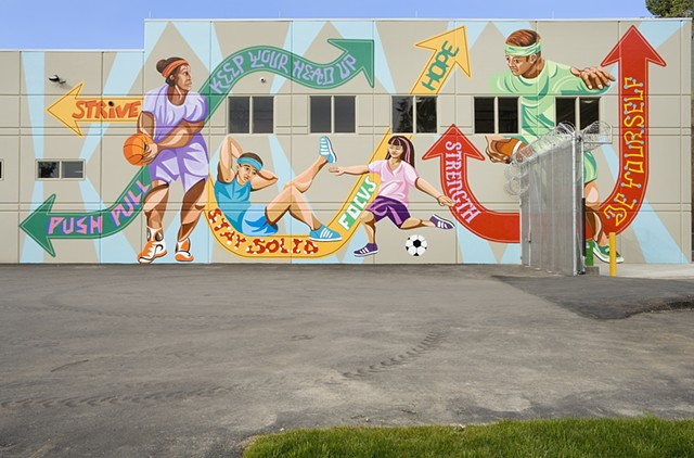Mural, Public Art, Youth, Painting, Sports