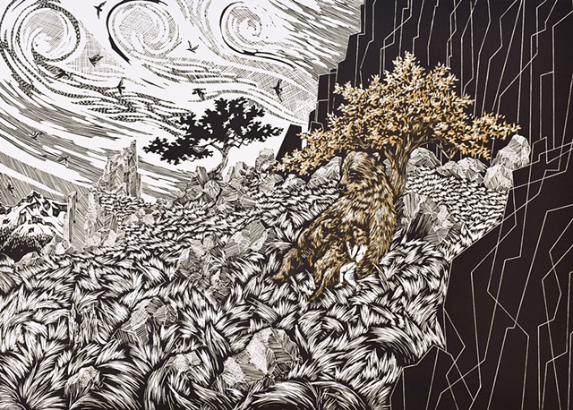 "An Untamed Bond, Edition of 6, Linocut, 16"" x 22"", 2020"