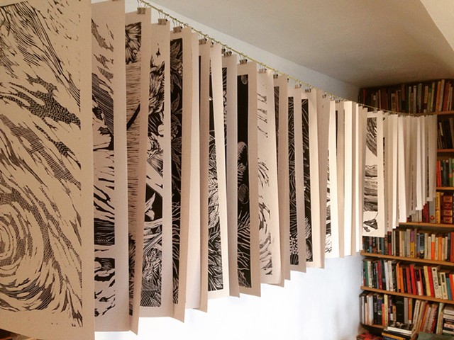48 woodblocks printed and drying