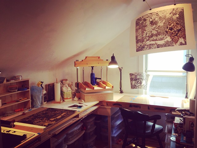 Though I dream of a large airy studio, this 6 x 9 foot closet I converted into a print studio has its charms.