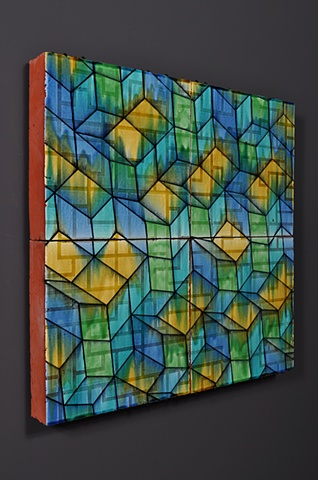 architectural ceramic tile sculpture wall painting clay art installation ceramics tiles glazed pattern modern contemporary interior exterior design mathematical tiling aperiodic math optical llusion