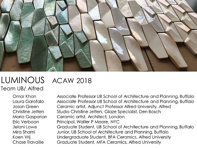 Architectural Ceramic Assemblies Workshop Team UB School of Architecture and Planning Alfred University