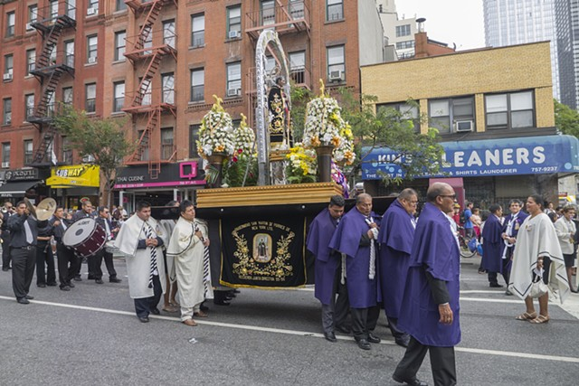 Procession in honor of St. Martin de Porres on 9th Avenue, New York City