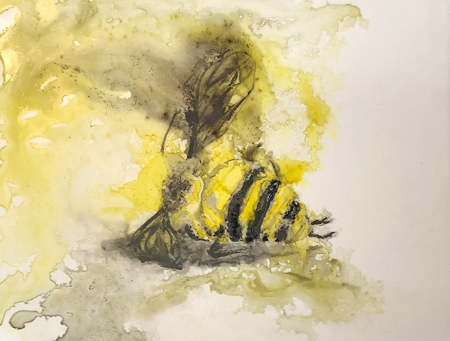 Dead bee, ink painting, Yupo