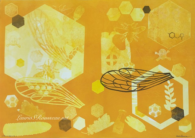 monotype print with bees, corn, hexagon and pesticide images