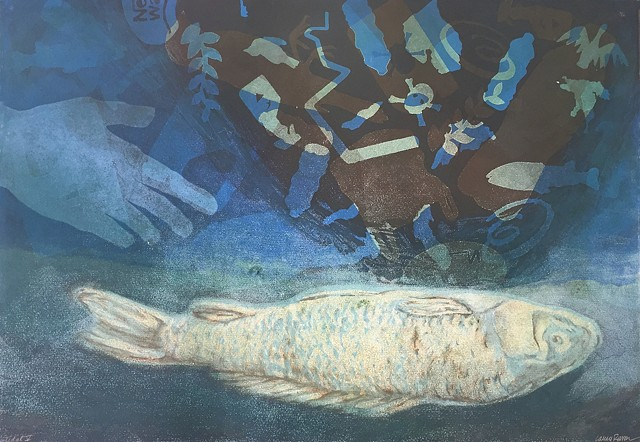 Monotype print with images of plastics, fish, oil and chemicals
