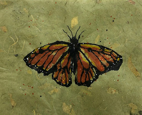 Monarch butterfly, watercolor ink transfer painting
