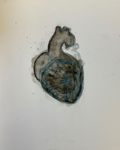 heart, ink wash