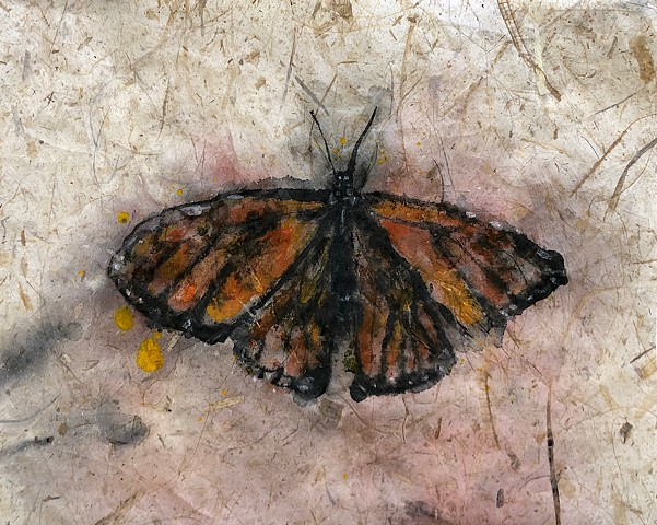 Monarch butterfly, ink transfer painting
