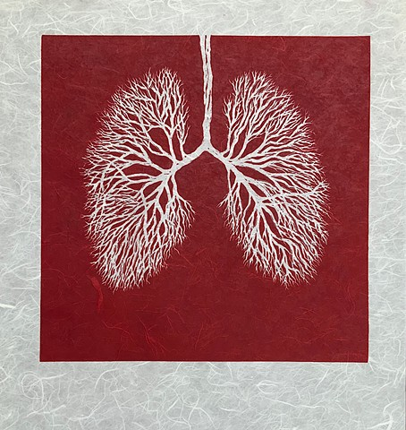 lung bronchioles, linoleum relief print