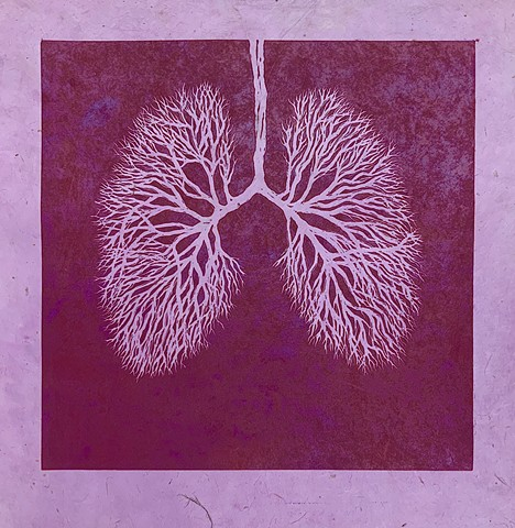 linoleum relief print, bronchioles of lungs