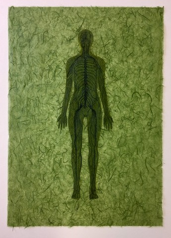Drawing of nervous system on mulberry paper with collage figure