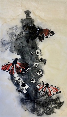Ink wash painting of Monarchs in danger
