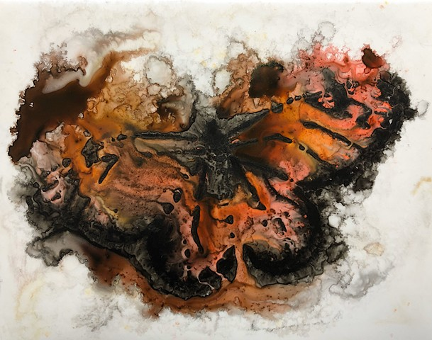 dissolve, monarch butterfly, watercolor ink painting, Yupo paper