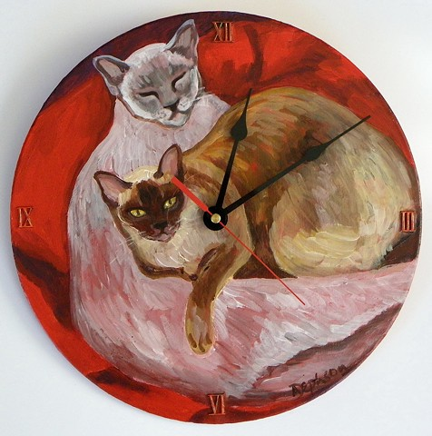 Burmese Cats on Red Cushion Clock
