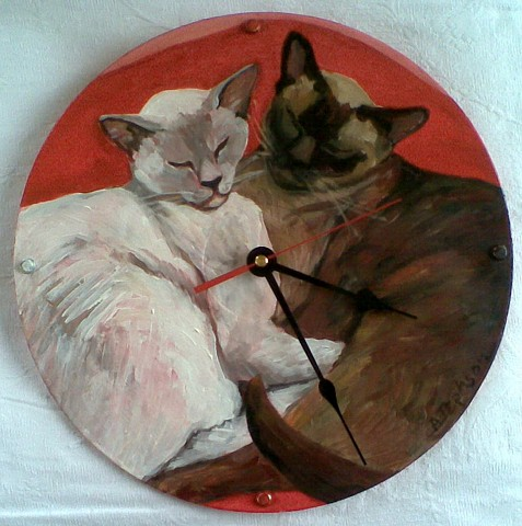 Two Cats Clock