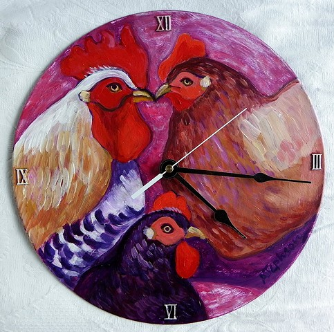 Pink Chickens Clock