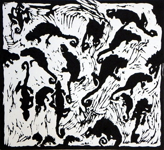 Wild Creatures- Drawings, Lino Cuts
