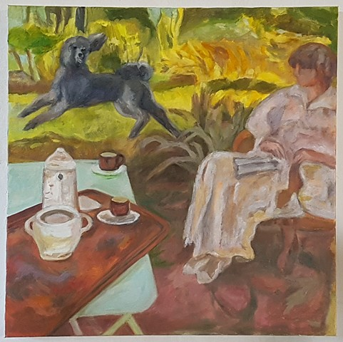 Bonnard's Poodle Trying to Catch Madam's Attention