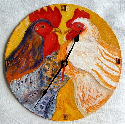 Yellow Chickens Clock