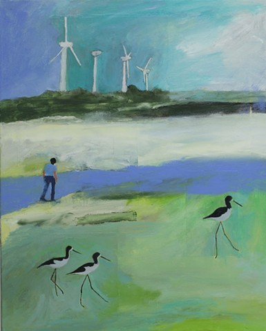Wind farm and Hawaiian stilts